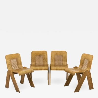 Gigi Sabadin Series of four chairs in plywood 1970s