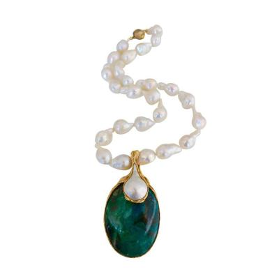Gilbert Albert 1970s Gilbert Albert Pearl and Azure Malachite Necklace