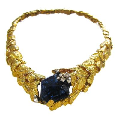 Gilbert Albert Gilbert Albert Gold And Tanzanite Necklace