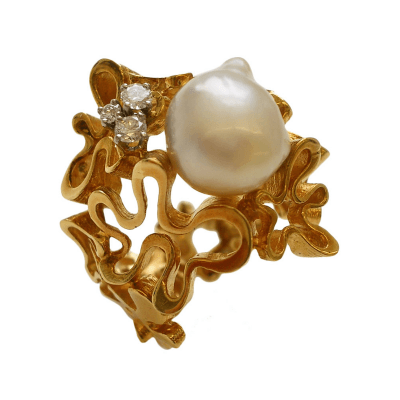 Gilbert Albert Gilbert Albert South Sea Pearl Diamond Gold Ring