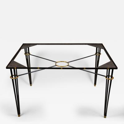Gilbert Poillerat 1940s Modernist Table with Gilt Details Attributted to Gilbert Poillerat