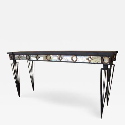 Gilbert Poillerat 2 French Modern Neoclassical 1940 Style Iron Consoles after Gilbert Poillerat