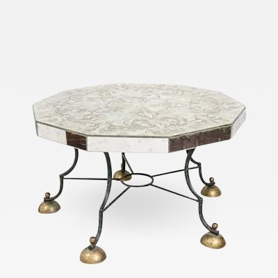 Gilbert Poillerat Art Deco Mirrored Coffee Table with Leaf Motif attributed to Gilbert Poillerat