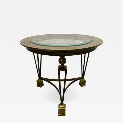 Gilbert Poillerat Brass and Tesselated Stone Side Table in the Manner of Gilbert Poillerat
