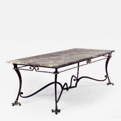 Gilbert Poillerat French 1940s Iron and Gilt Rope Trimmed Large Rectangular Center Table