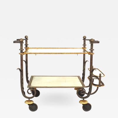 Gilbert Poillerat French Iron and Gilt Bar Cart