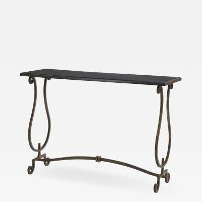 Gilbert Poillerat Gilbert Poillerat documented wrought iron and marble top console