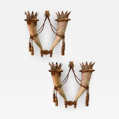 Gilbert Poillerat Gilbert Poillerat rarest defined pair of wrought iron patinated sconces