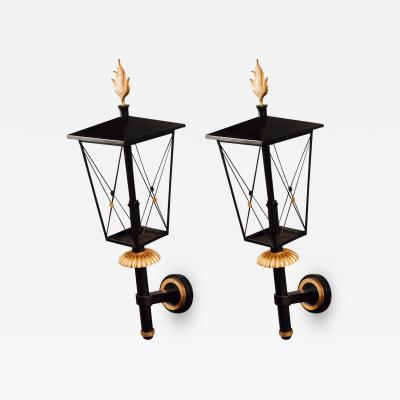Gilbert Poillerat Important Pair of Wrought Iron Sconces by Poillerat France ca 1950
