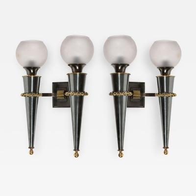 Gilbert Poillerat Pair Of Sconces By Gilbert Poillerat