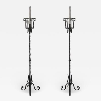 Gilbert Poillerat Pair of French Wrought Iron Floor Lamps Torchieres Attr to Gilbert Poillerat