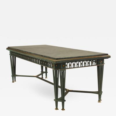 Gilbert Poillerat Poillerat and Quinet French Mid Century Iron and Marble Dining Table