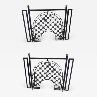 Gilbert Poillerat Two French Mid Century Wrought Iron Fire Screens Attributed to Gilbert Poillerat