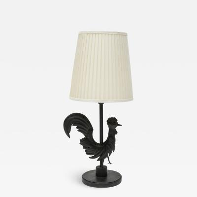 Gilbert Poillerat Wrought Iron rooster table lamp in the style of Gilbert Poillerat