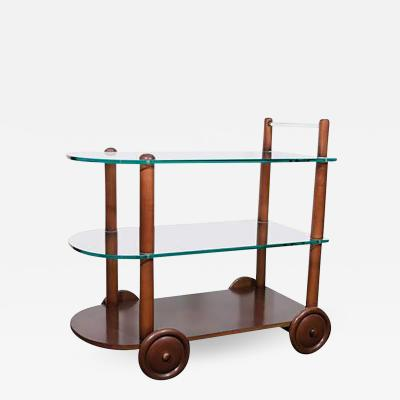 Gilbert Rohde Art Deco Gilbert Rohde Bar Cart All Original Glass and Wood