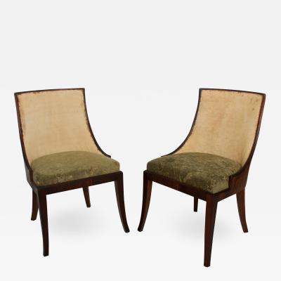 Gilbert Rohde French Art Deco Pair of Barrel Back Tub Rosewood Side Chairs after Gilbert Rohde