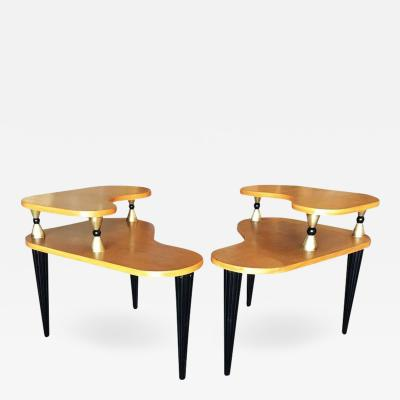 Gilbert Rohde Gilbert Rohde Style Two Tier Biomorphic Side Table Pair