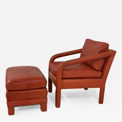 Gilbert Rohde Leather Lounge Chair and Ottoman Style of Gilbert Rohde