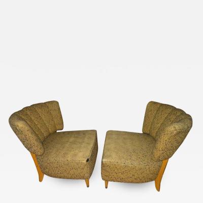 Gilbert Rohde Lovely Pair of Gilbert Rohde Style Slipper Chairs Mid Century Modern