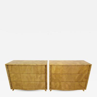 Gilbert Rohde Pair of American Modern Parchment Three Drawer Chests Gilbert Rohde