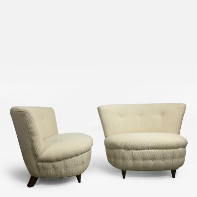 Gilbert Rohde Pair of Button Tufted Slipper Chairs by Gilbert Rohde