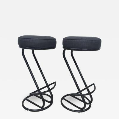 Gilbert Rohde Pair of Gilbert Rohde Z Style Bar Stools Black Enamel