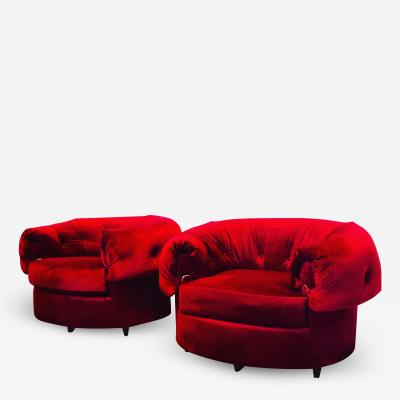 Gilbert Rohde Pair of Large Scale Lounge Chairs in the Style of Gilbert Rohde