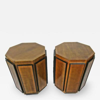 Gilbert Rohde Pr Gilbert Rohde Octagonal Fruitwood and Ebonized Pedestal Tables