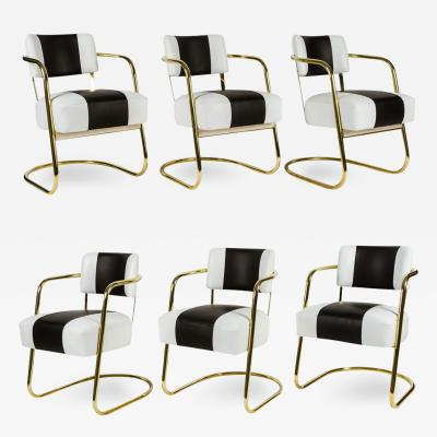 Gilbert Rohde Set of Six Art Deco Chairs in Brass and Leather