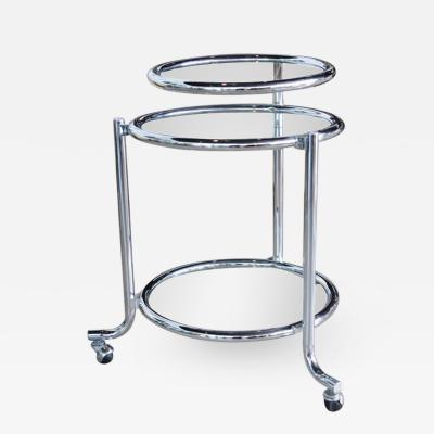 Gilbert Rohde Single Chrome Rolling Swivel Side Table Attributed to Gilbert Rohde