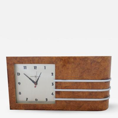 Gilbert Rohde Streamline Burl Wood Clock by Gilbert Rohde