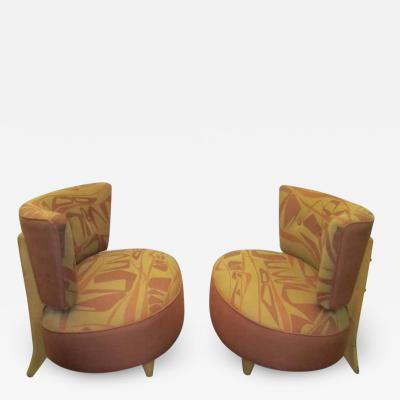 Gilbert Rohde Whimsical Pair of Gilbert Rohde Style 1940s Slipper Chairs Mid Century Modern