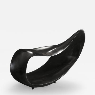 Gildas Berthelot Sculpted Bench in Ebonized Maple Signed by Gildas Berthelot
