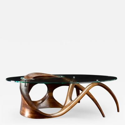 Gildas Berthelot Sculpted Black Walnut Coffee Table Signed by Gildas Berthelot