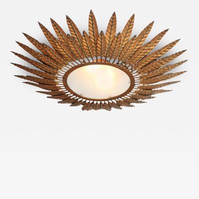 Gilded Bronze Starburst Flush Mount Light Fixture