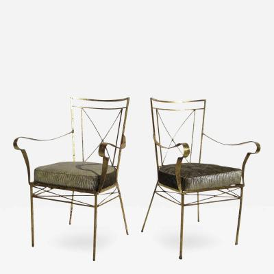Gilded Occasional Hollywood Regency Arm Chairs