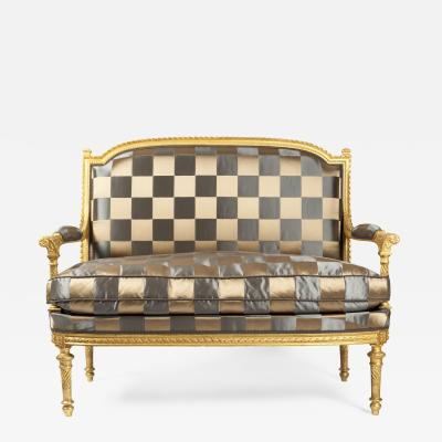 Gilded Wood Two Persons Sofa Sofa Louis XVIth Style
