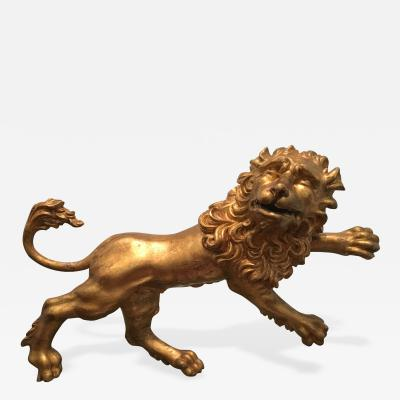 Gilded Wooden Sculpture of a Lion