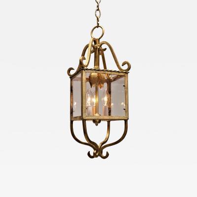 Gilded Wrought Iron Box Lantern Circa 1935 Italy