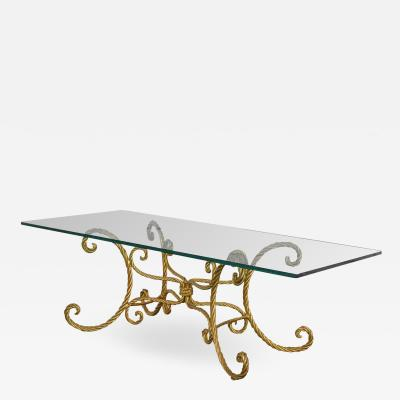 Gilded twisted iron rope coffee or cocktail table with rectangle glass top