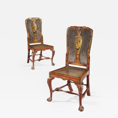 Giles Grendey Antique Rare English Asian Original Set of Six Red Laquer Chinoserie Chairs