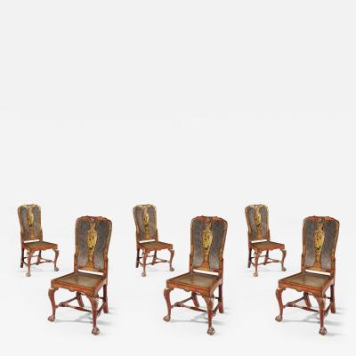 Giles Grendey Rare Set of Six 18th Century Laquer Chinoserie Chairs Pairs Available