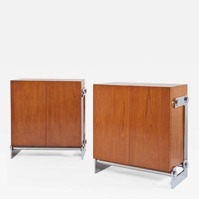Gilles Bouchez Pair of Walnut Cabinets by Gilles Bouchez France 1970s