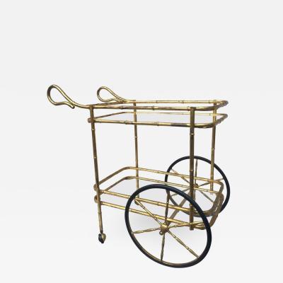 Gilt Bamboo Iron Rolling Bar Cart
