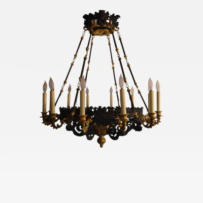 Gilt Bronze Chandelier with Black Patina