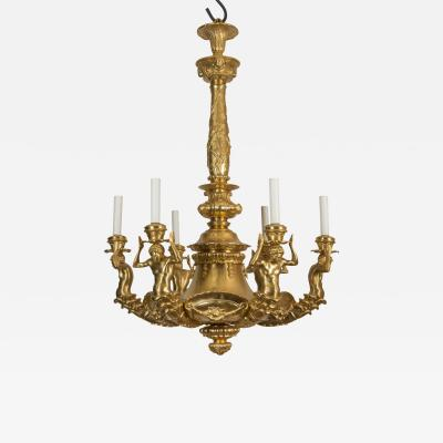 Gilt Bronze Chandelier with Six Characters