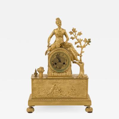 Gilt Bronze Clock Woman with a Sheep