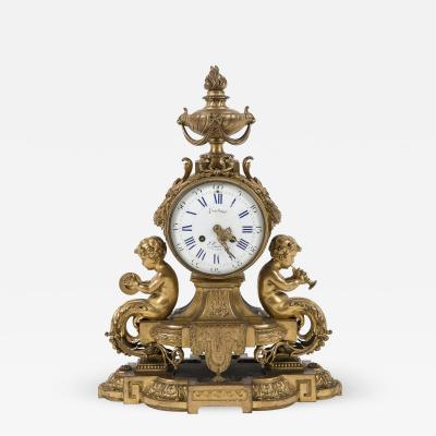 Gilt Bronze Clock by Costain Sclupted Musician Babies