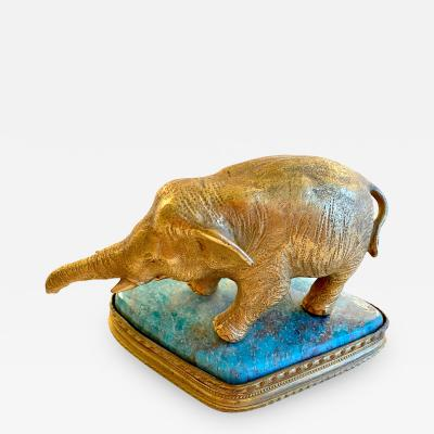 Gilt Bronze Elephant on Blue Onyx Base
