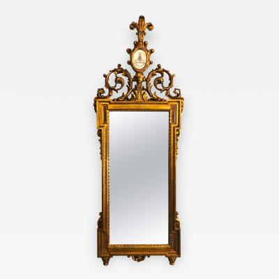 Gilt Carved Wall Console or Table Mirror with High Open Fleur de Lis Pediment